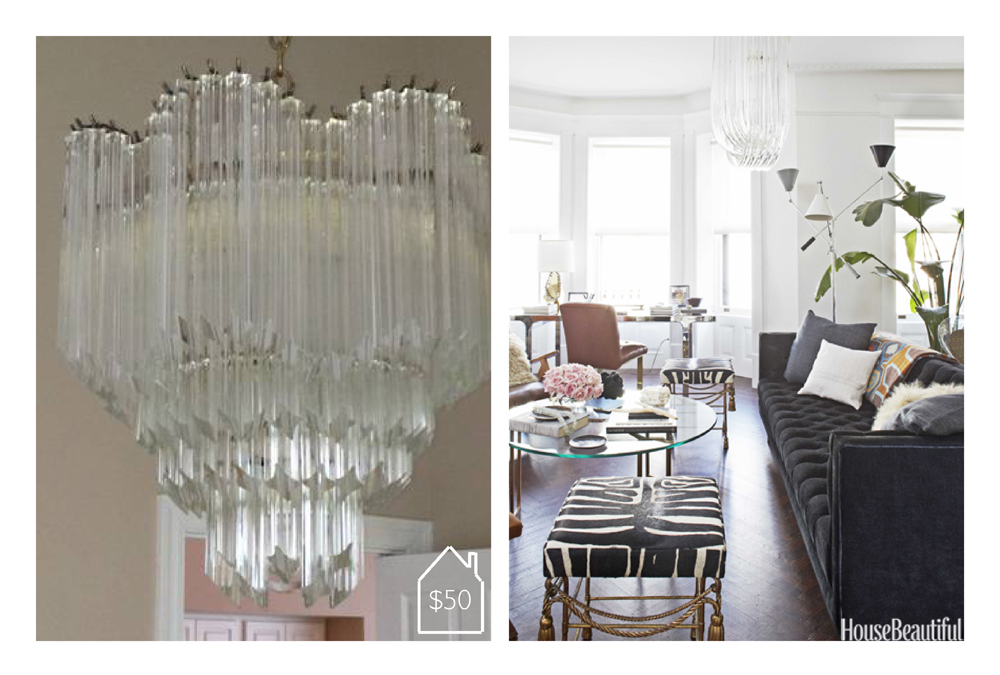 crystal prism chandelier via  Craigslist  and  House Beautiful