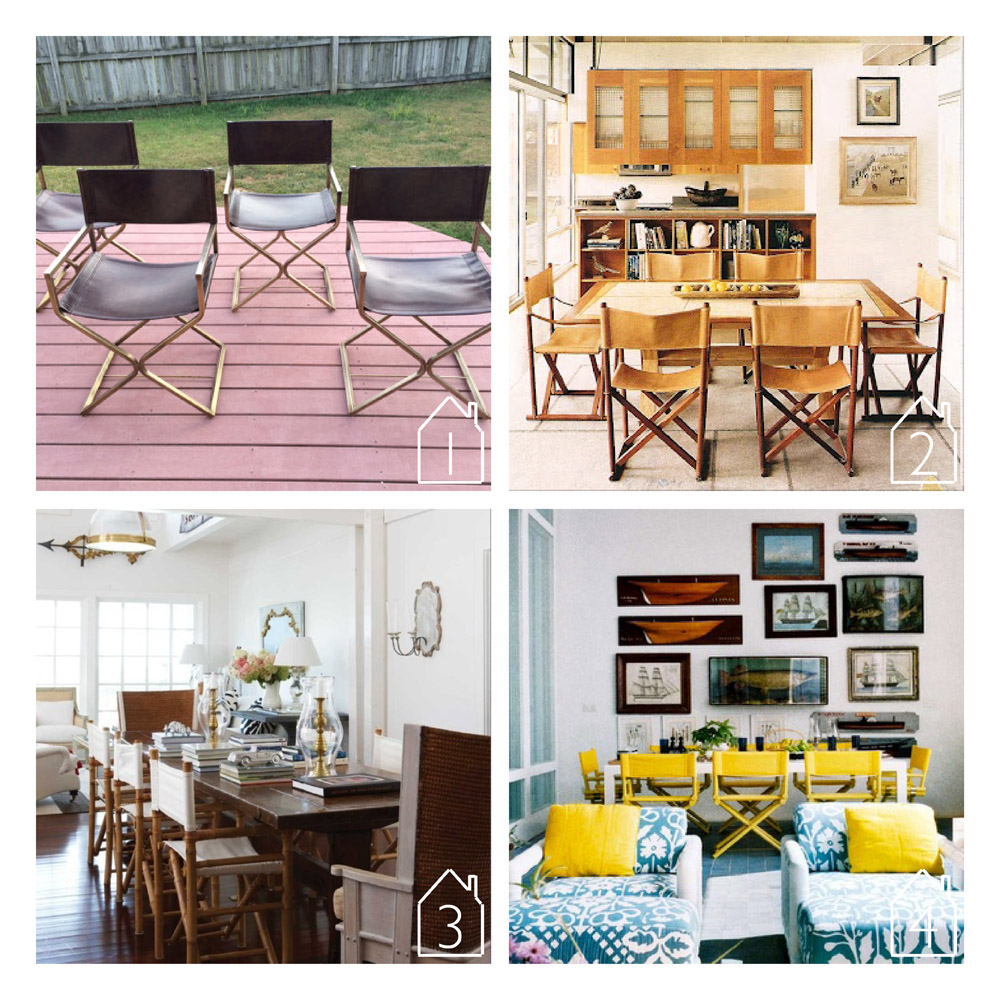 1.  virtue brothers director chairs  via  etsy   2. source unknown  3. rattan directors chairs via  Elements of Style  blog  4. yellow directors chairs via  Casa Decor