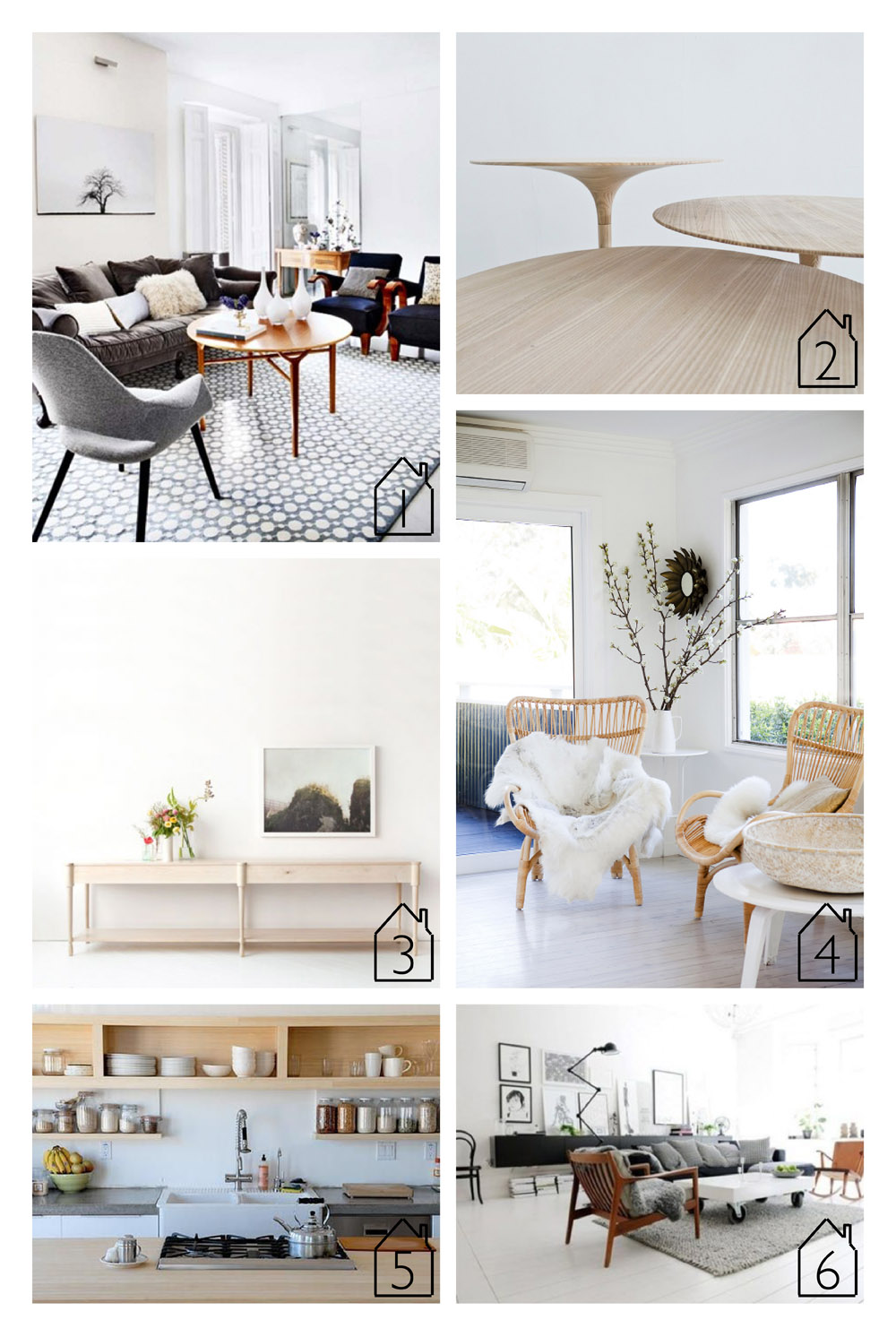 1. source unknown  2. design by   Maria Bjørlykke   3. piece by  egg collective   4. source unknown  5. source unknown  6. swedish apartment via piccsy