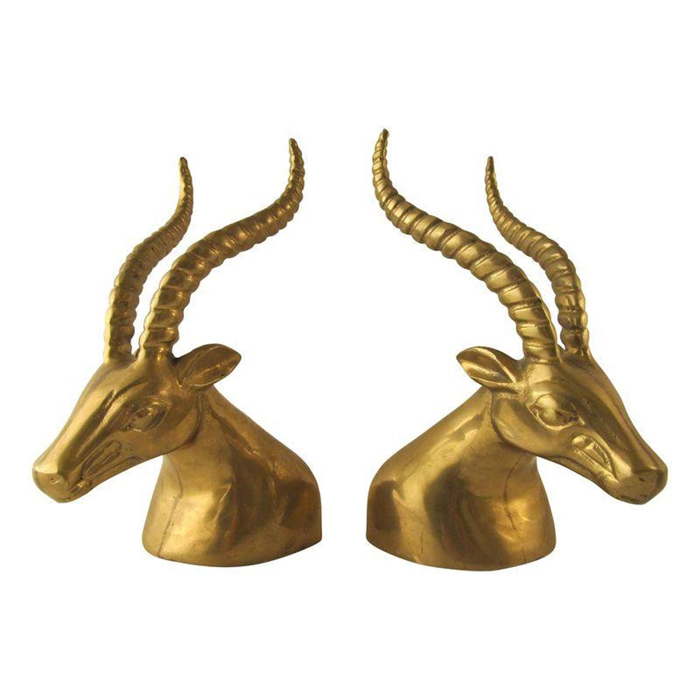 Brass Gazelle Bookends  - $295