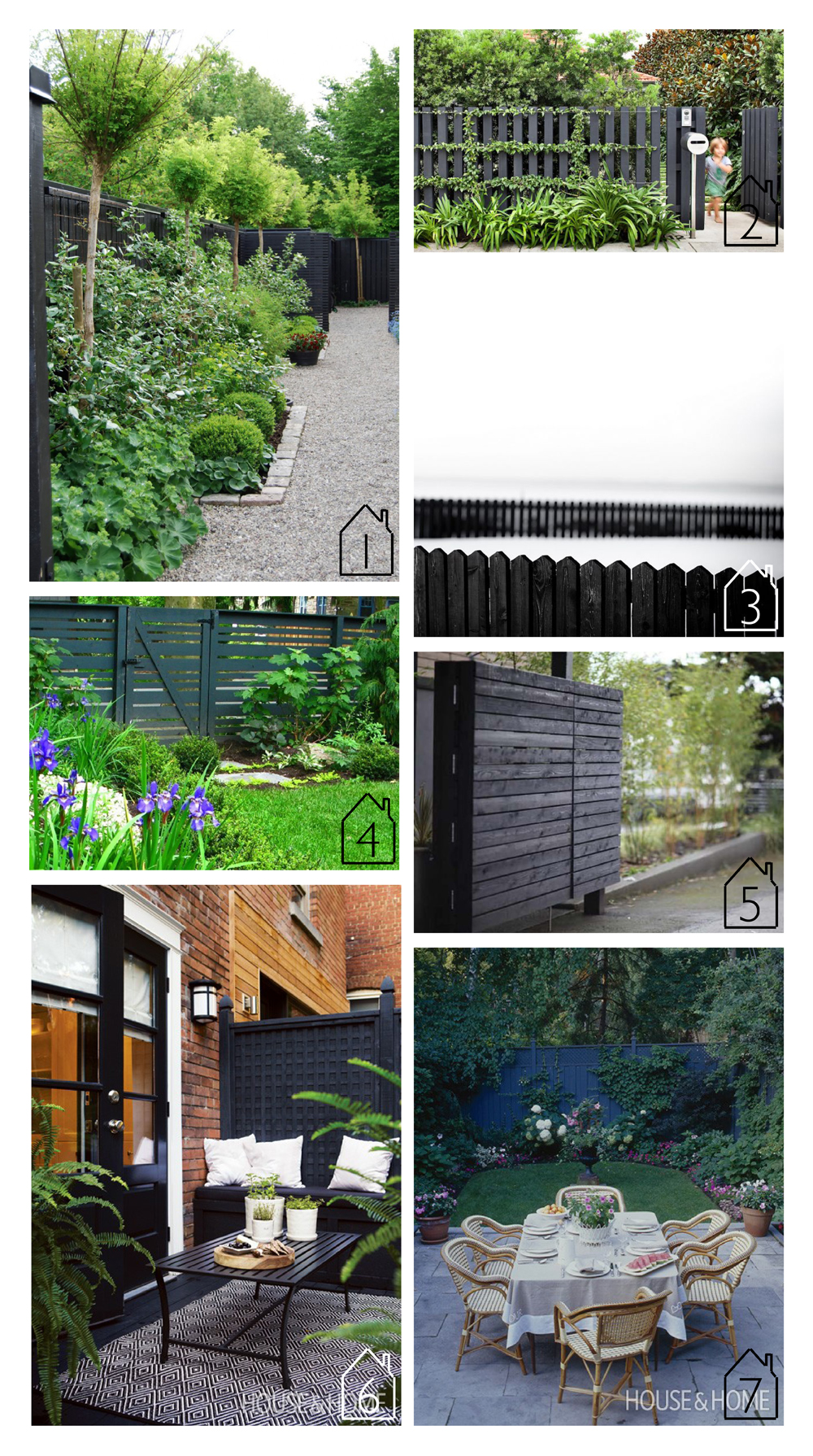 1. via  GARDENISTA photo by Maria Drumo Sundstrom 2. via  GARDENISTA design by  Anthony Wyer  3. source unknown 4. via  Landscaping Network  design by  Livable Landscapes  5. design by  Wittman + Estes  6. via  House & Home  7. via  House & Home