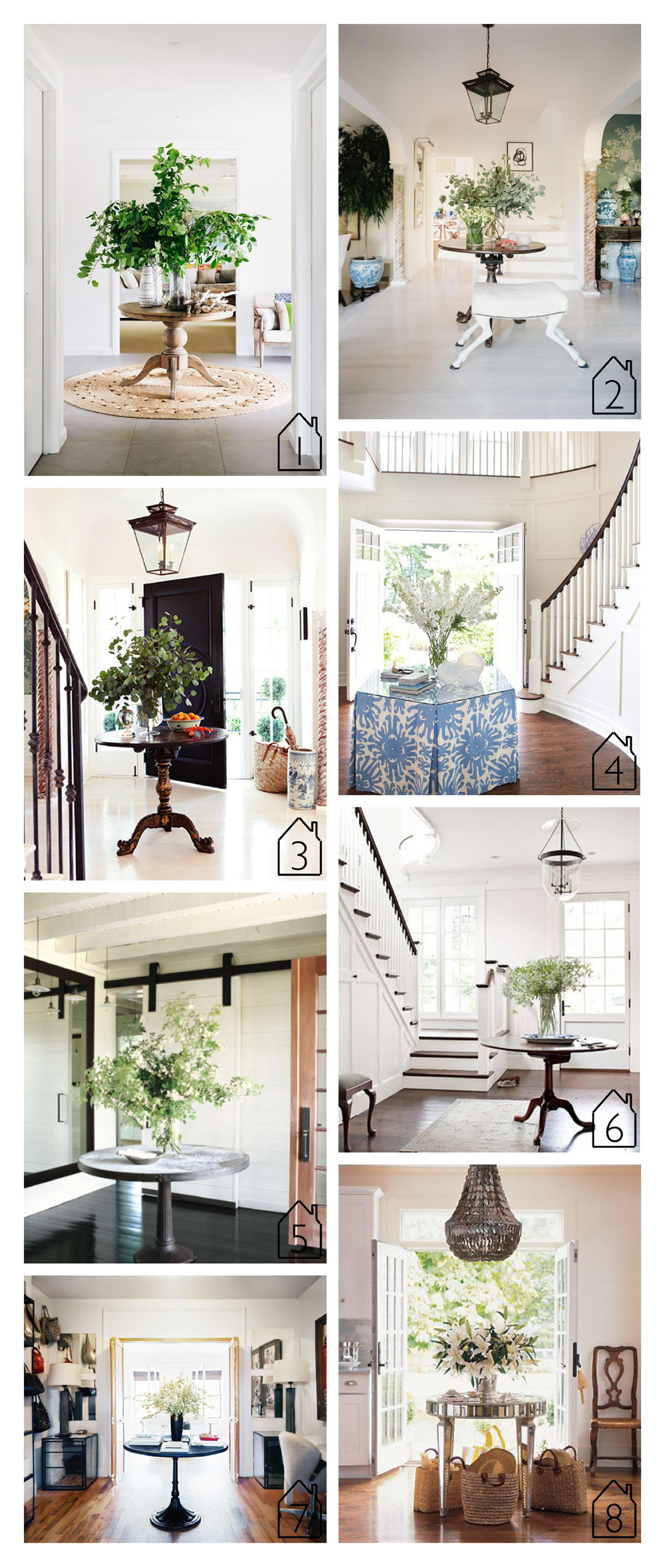 1. via  Marion House Book  2. via Lonny design by  Mark Sikes  and Michael Griffin  3. via  Domaine  design by  Mark Sikes   4. source unknown 5. Meg Ryan's Martha Vineyard home via  Elle Decor   6. source unknown  7. via  Lonny   8. Chris Cuomo's Cape Cod home via  Elle Decor  design by  Emma Pilkington