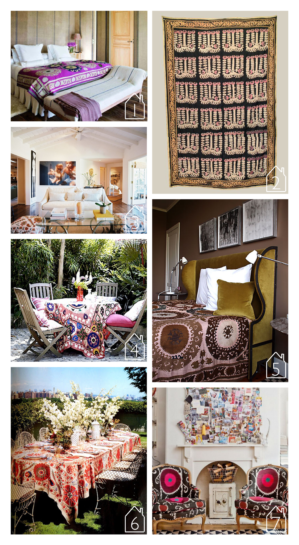 1. via  style design life   2. via  keep feeling fascination  3. home of Lulu DK founder via her blog  trail of inspiration  4. via  City Sage   5. via  Casa Midy   6. source unknown  7. via  nomad luxuries