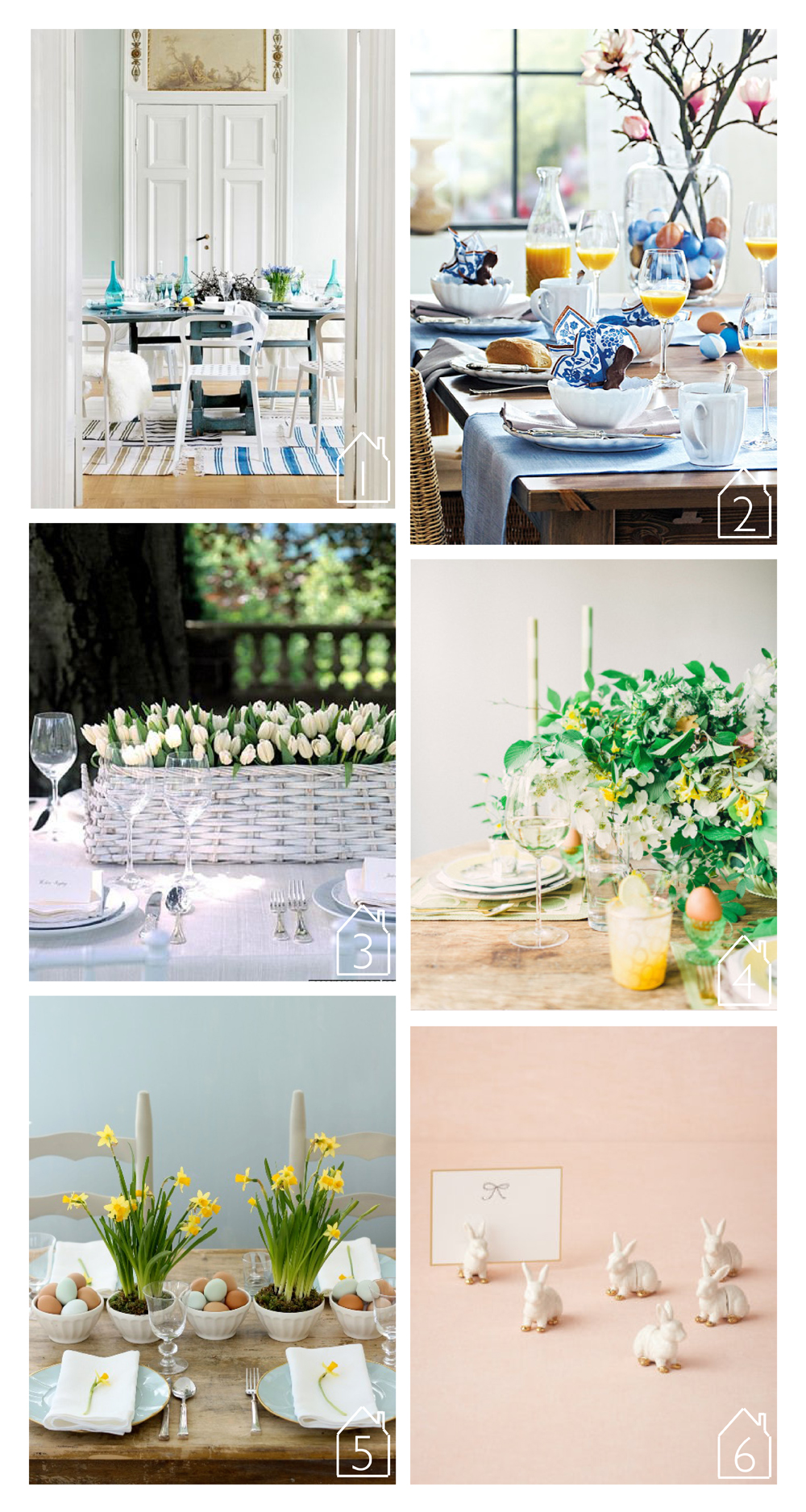 1. source unknown  2. via  Daily Dream Decor   3. via  Martha Stewart   4. via  Style Me Pretty Living   5. via  Simply Chic Events   6. via  BHLDN