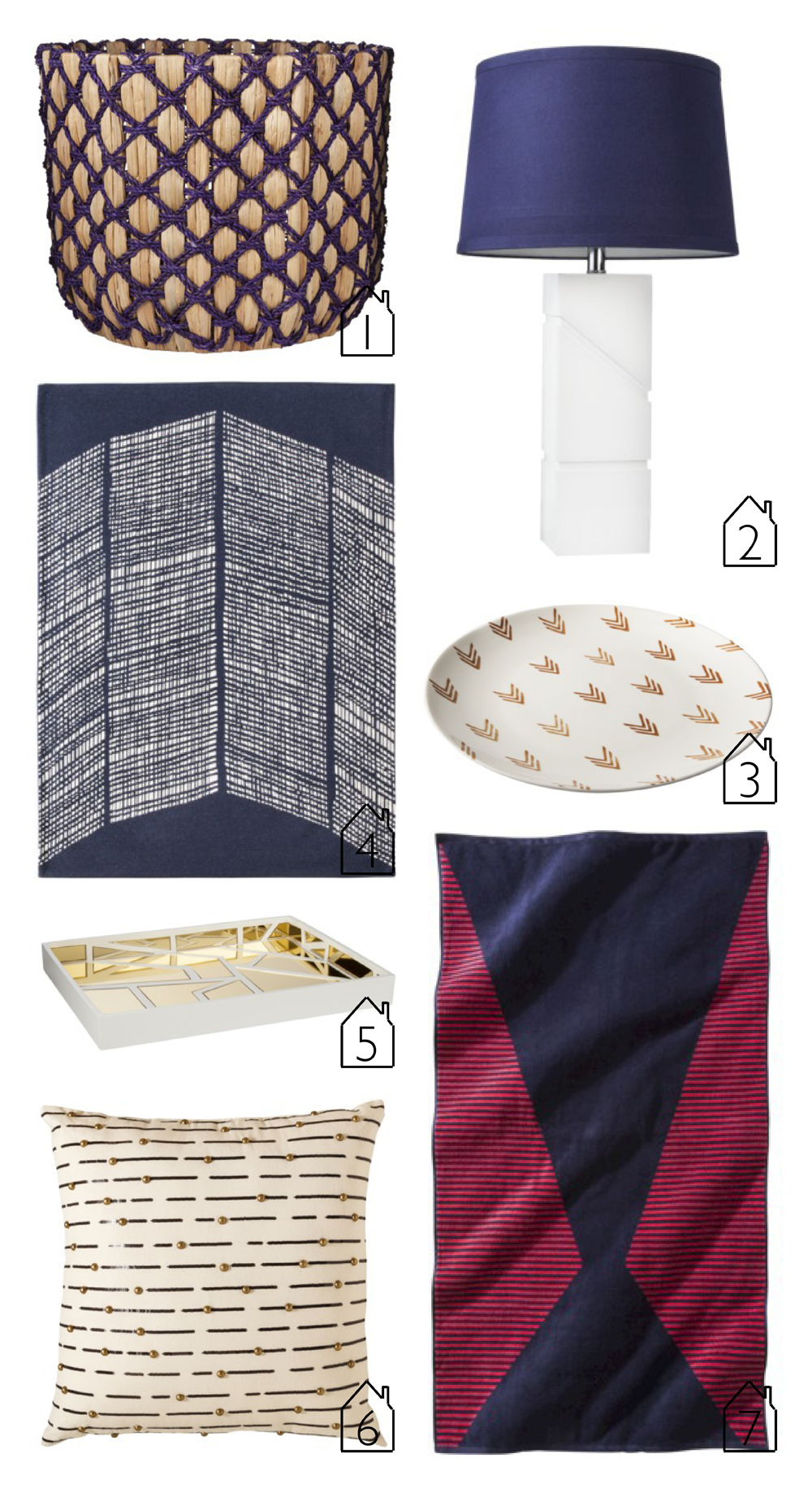1.  Seagrass Flatweave Basket   2.  Table Lamp   3.  Patterned Ceramic Tray   4.  Area Rug   5.  Gold Mirrored Decorative Tray   6.  Studded Cream Pillow   7.  Zig Zag Beach Towel