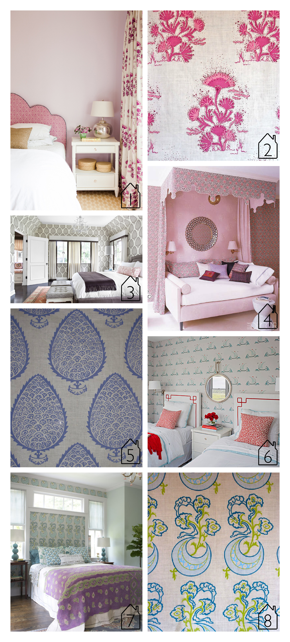 1. design by  Caitlin Moran Interiors   seaweed fabric  in magenta  2.  seaweed fabric  in magenta  3. design by  Betsy Burnham   leaf wallpaper  in gray  4. design by  Katie Ridder  via  Elle Decor   5.  leaf fabric  in periwinkle  6. design by  Liz Carroll  via  Coastal Living   beetlecat wallpaper  in stone  7. design by Tami Ramsay of  Cloth & Kind  via  Lonny   moonflower fabric  in turquoise  8.  moonflower fabric  in turquoise
