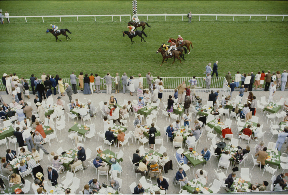 Racing at Baden Baden  by Slim Aarons via  Jonathan Adler