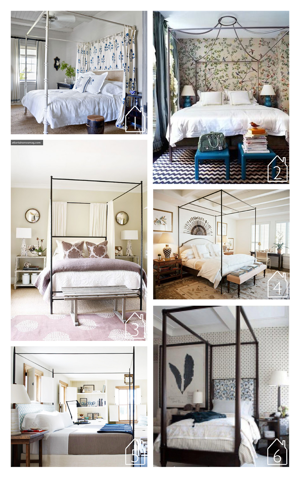1. design by  Alessandra Branca' s featured in  Architectural Digest   2. design by  Miles Redd  featured in  Domino   3. via  Prairie Perch   4. design by  Bunny Williams  via  Lonny   5. design by  Robert Stillin  via  Domaine Home   6. via  OBX trading company