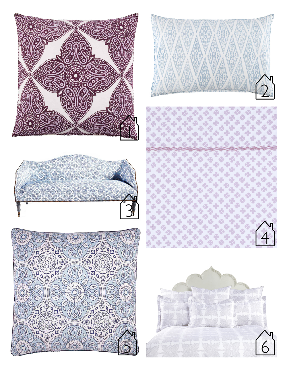 1.  Kumera Brinjal Euro  pillow 2.  North Sea Dec  pillow 3.  Luxor Settee  4.  Rabari Lavender  sheet 5.  Madura Lapis Euro  pillow 6.  Monsoon  bedding