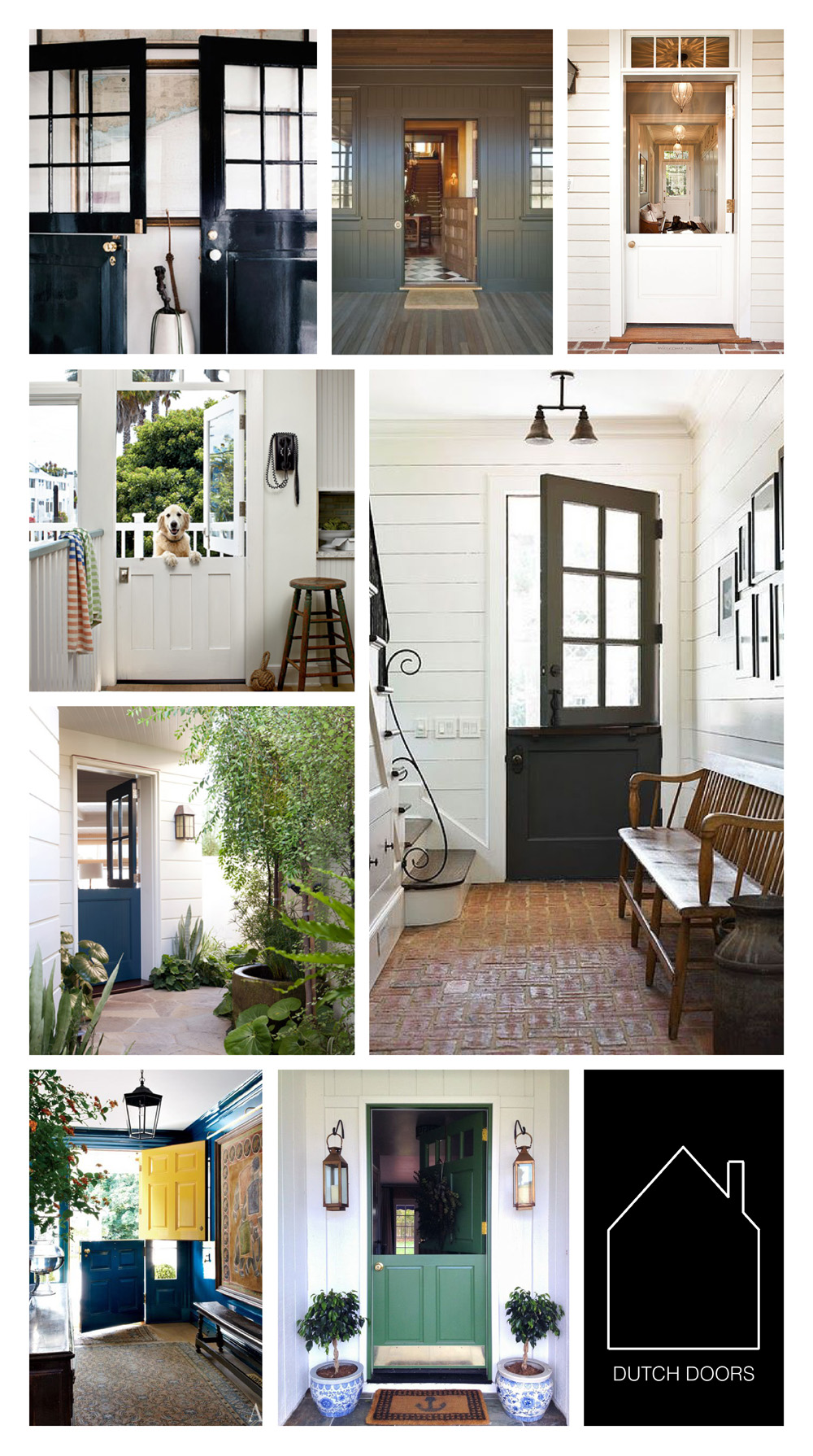 from top left - via  THAT KIND of WOMAN  -  RAGLAND HILL - design by  JONES PIERCE architects -  COASTAL LIVING - source unknown - design by  Peter Dunham  via  House Beautiful - design by  Miles Redd  via  Architectural Digest - home of  Grace Happens  via  Elements of Style