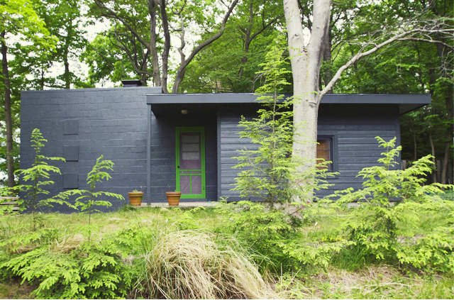 new siding, black paint and a bright green door via  Smitten Studio