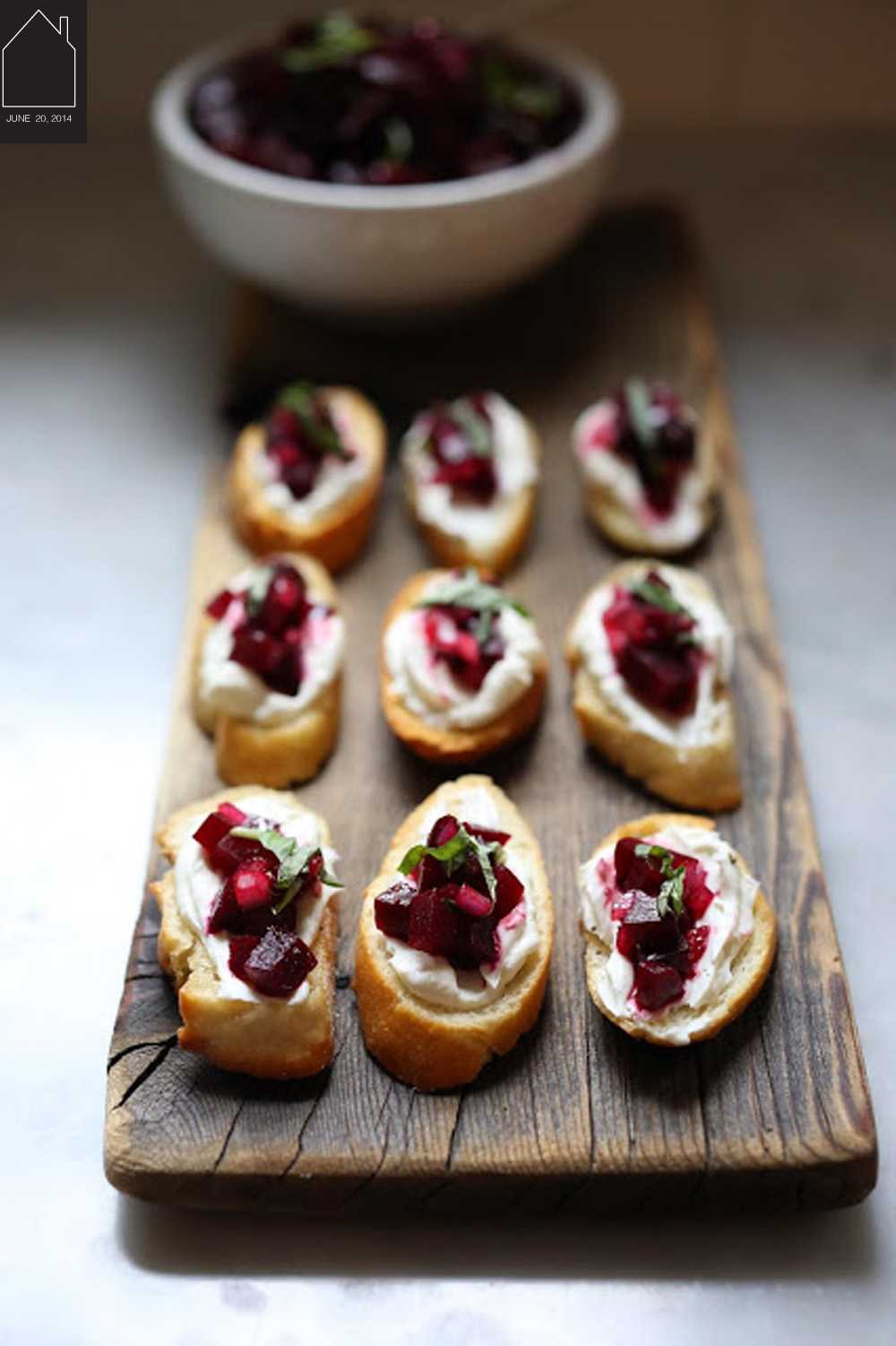 beet bruschetta with goat cheese and basil via F EASTING at HOME