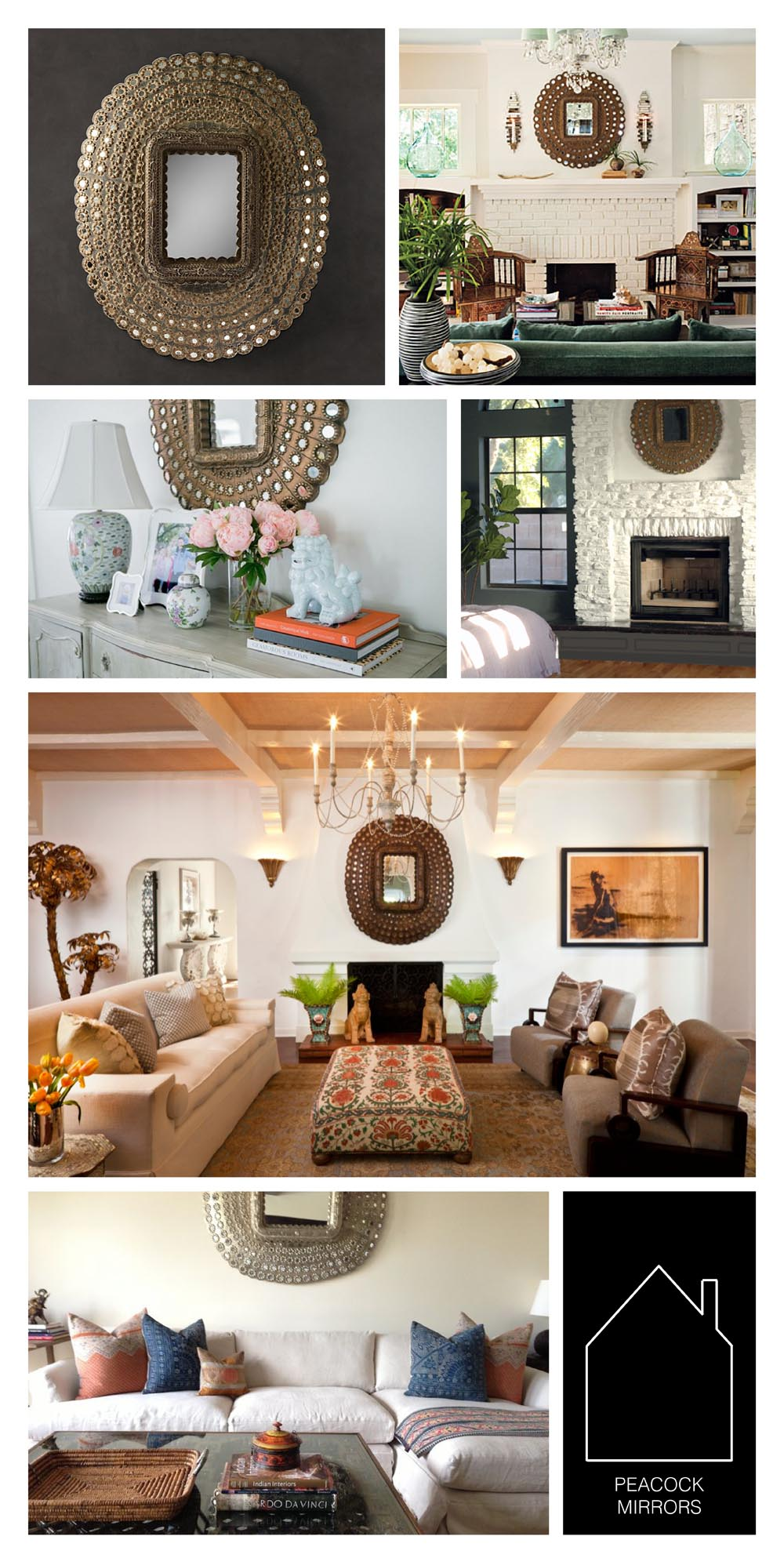 from top left  - peacock mirror by  Restoration Hardware  - via  Southern Living  - via  The Pursuit of Style  - via  The Little Green Notebook  - design by  Hillary Thomas  - design by  Amber Interiors