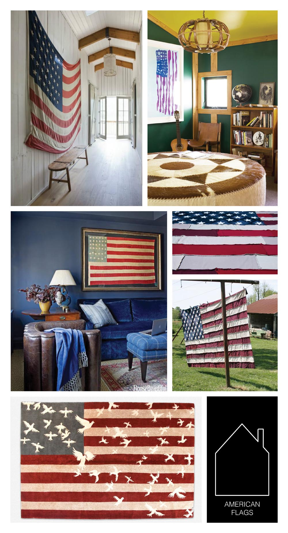 from top left  - design by  Rachel Halvorson Design - home of  Ruthie Sommers  via  Lonny - home of  Phoebe Howard  via  House Beautiful - American flag throw detail by  Alabama Chanin - American flag quilt by  Alabama Chanin  - Doves and Stripes rug by  Luke Irwin  via  REMODELISTA