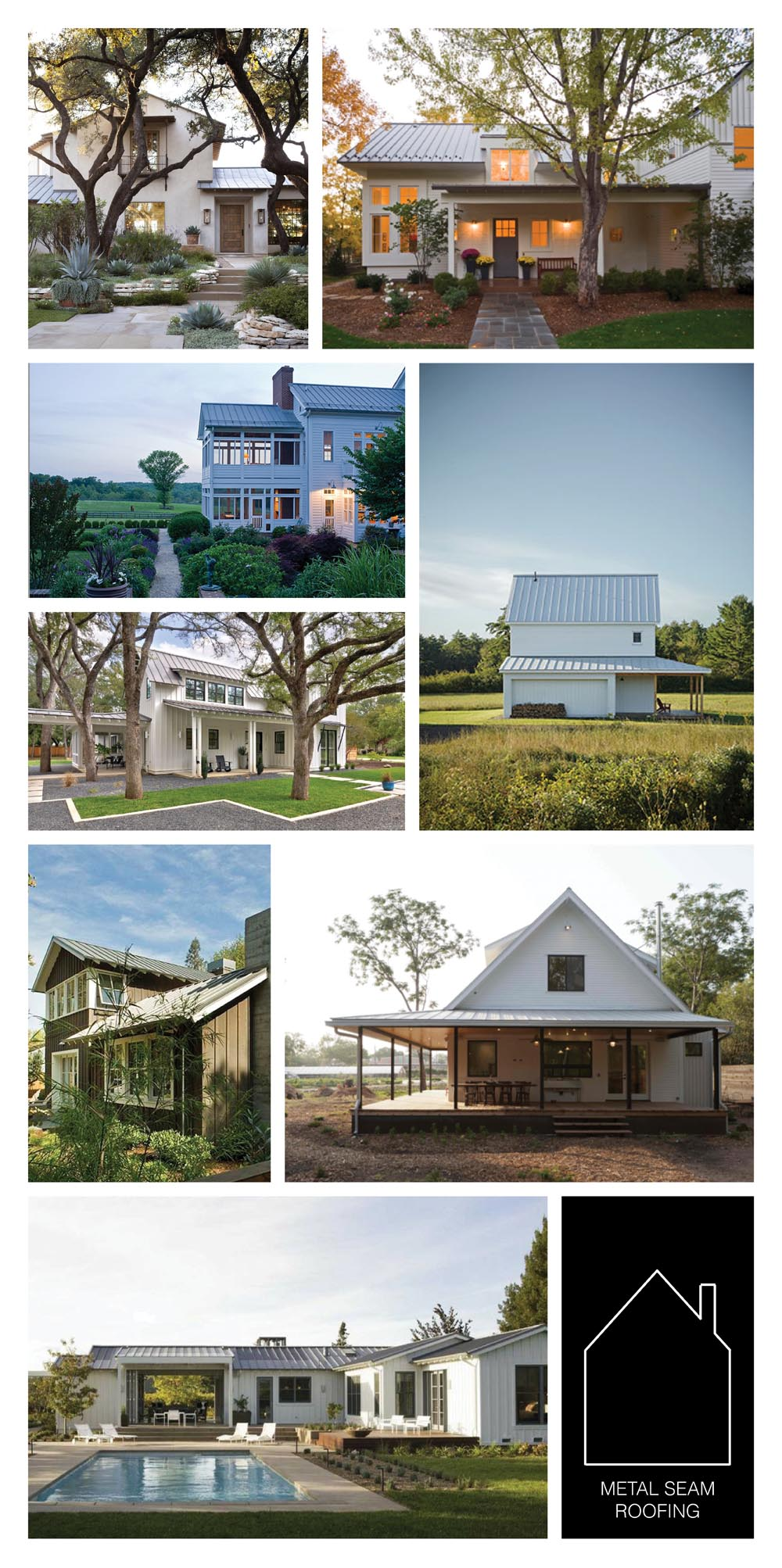 from top left -   richard lane  home by  Ryan Street & Associates  -  cherry hills village residence  by  Blue Line Architects  - Maryland home by Faith Nevins Hawk via  Roger Foley  -  GO LOGIC  home - modern farmhouse by  redbud custom homes  -  Felton Gables residence  by  Arcanum Architecture, Inc.  -  Springdale farmhouse  by  Rauser Architecture + Design  - California ranch vis source unknown