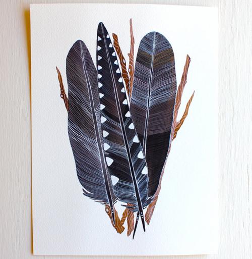 crow feather bundle  by  Marisa Redondo
