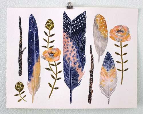 art print flowers and feathers  by  Marisa Redondo
