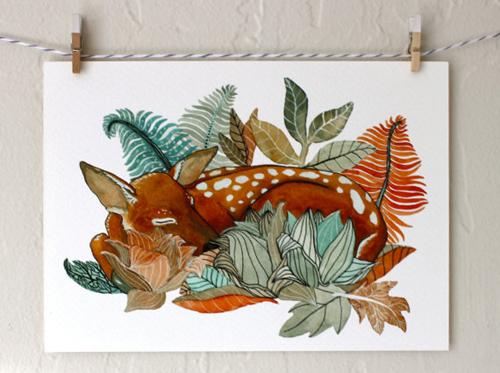 fawn deer painting  by  Marisa Redondo