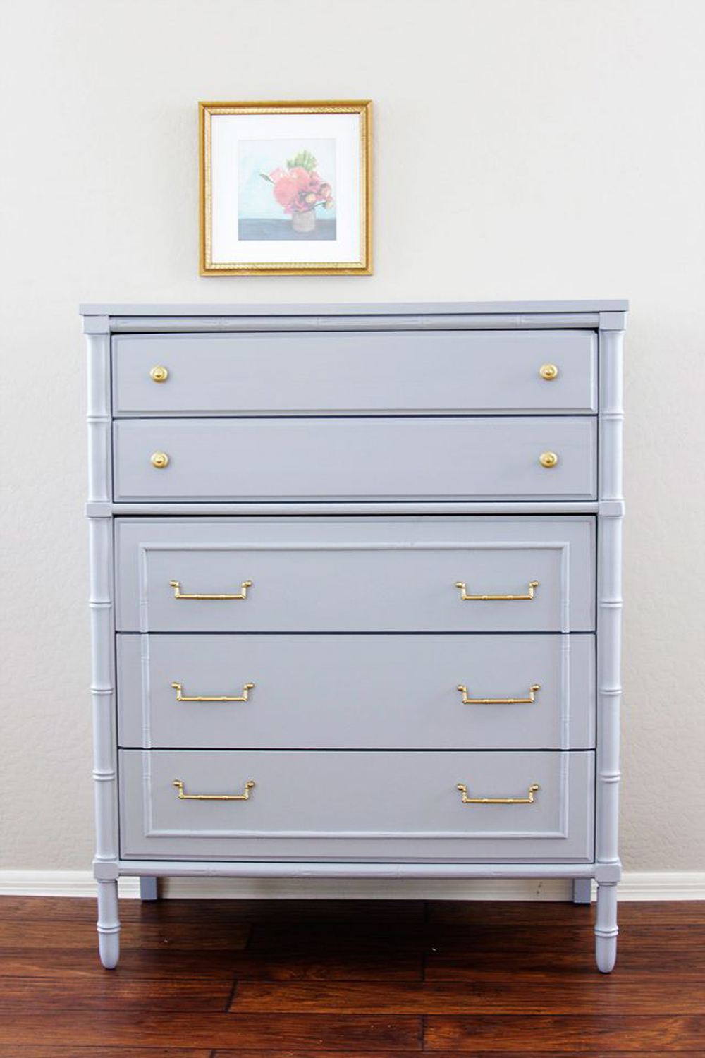 faux bamboo dresser painted in high gloss gray paint via  Natty by Design