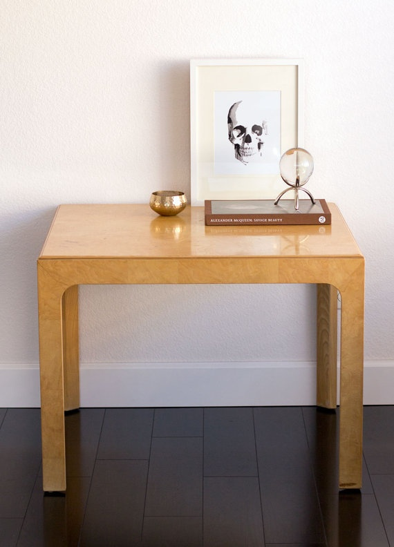 Henredon burled wood side table via  Etsy