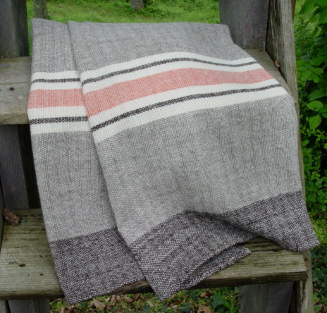 hand woven merino wool pink and gray blanket