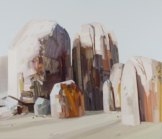 "Claire Sherman -  Boulders  - 2012 - 78"" x 90"" - Oil on Canvas"