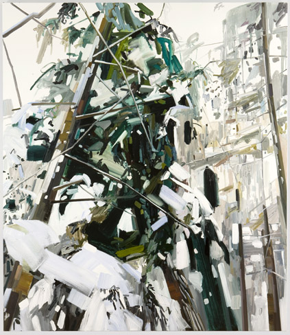 """Claire Sherman -  Snow and Trees  - 2010 - 90"""" x 78"""" - Oil on Canvas"""