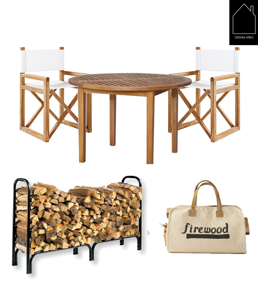 directors chairs  by  Serena & Lily  - table by  Smith Hawken for Target  -  wood storage rack  by  L.L. Bean  -  firewood carrier  by  Schoolhouse Electric