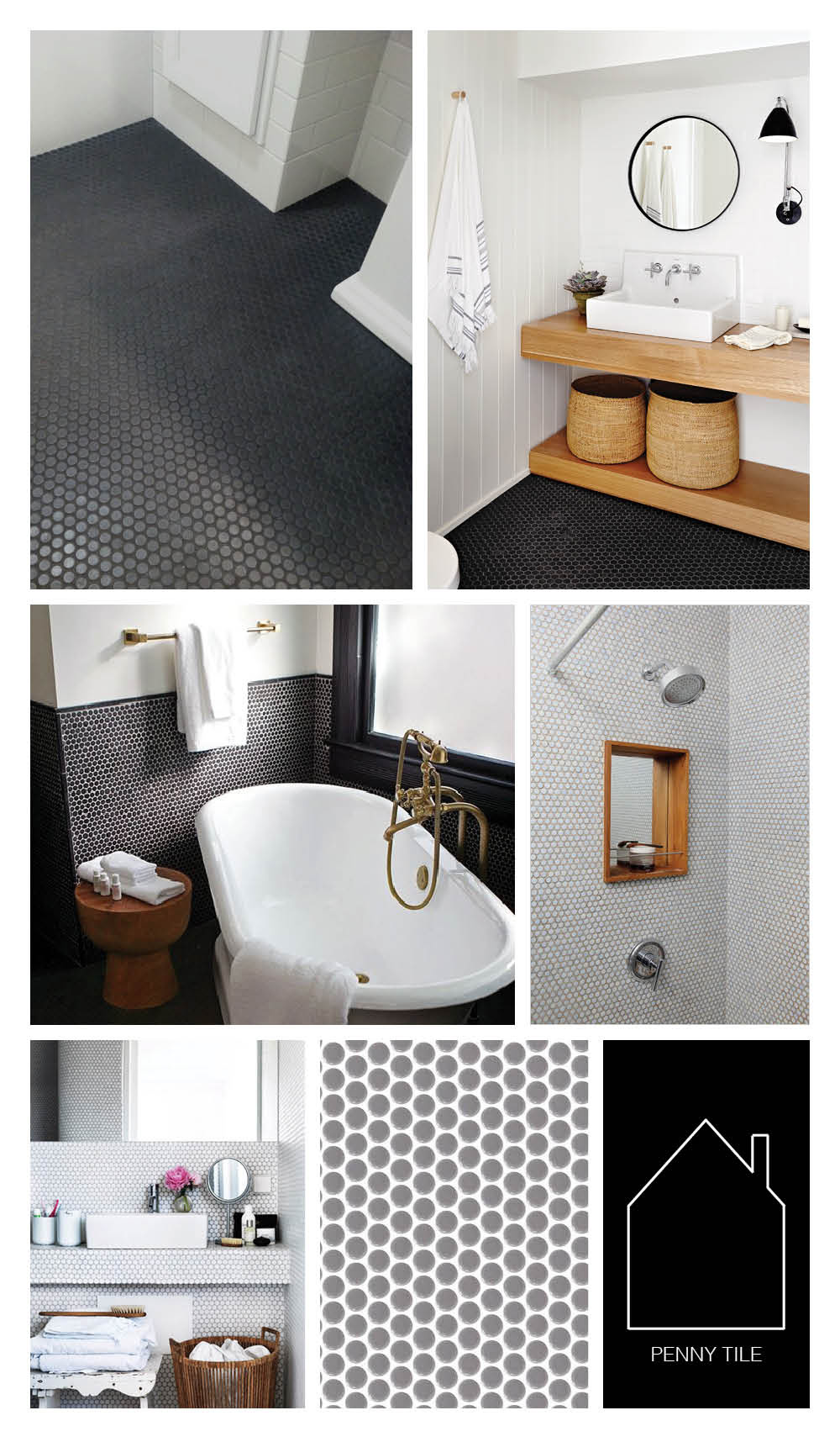 from top left - bathroom of Steve Carbin via  REMODELISTA  - Suzanne Dimma's bathroom via  House & Home  -  Hotel Saint Cecilia  via  REMODELISTA  - home of Todd and Marlene Capron via  NY Times  - source unknown -  retro grounds engine gray  by  Daltile