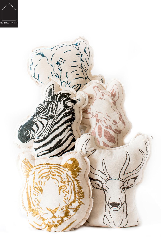 animal pillows via  mokkasin