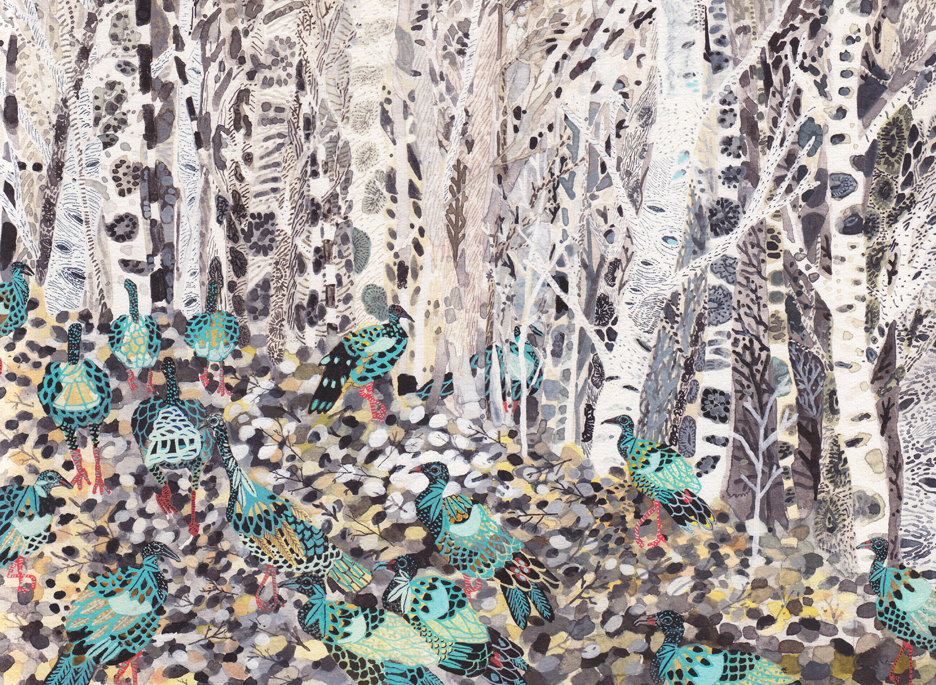Winter Woods and Wild Turkeys  by  Michelle Morin