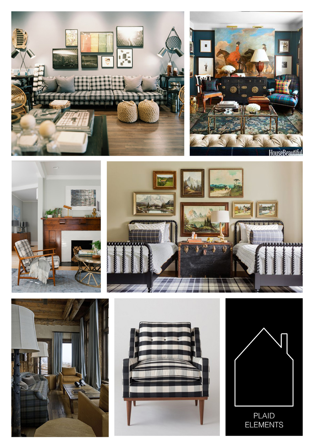 from top left - plaid couch via  Lonny  - via  House Beautiful  - design by  Emily Henderson  - design by  Sabbe Interiors  - via  Birch + Bird  - Jack chair by  Schoolhouse Electric