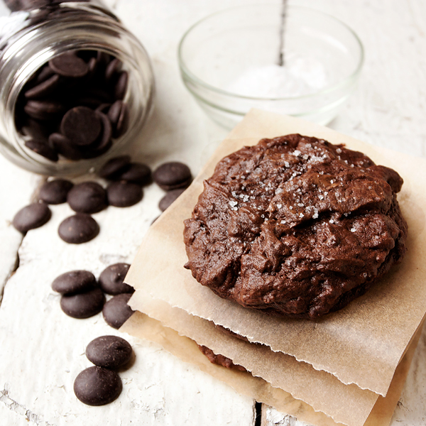 Salted Chocolate Brownie Cookies  via  Seasons & Suppers