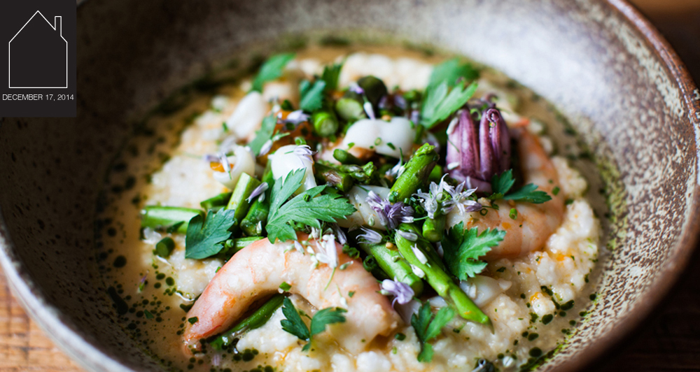 shrimp and grits at  Husk  - photo by  Andrea Behrends  via  First We Feast