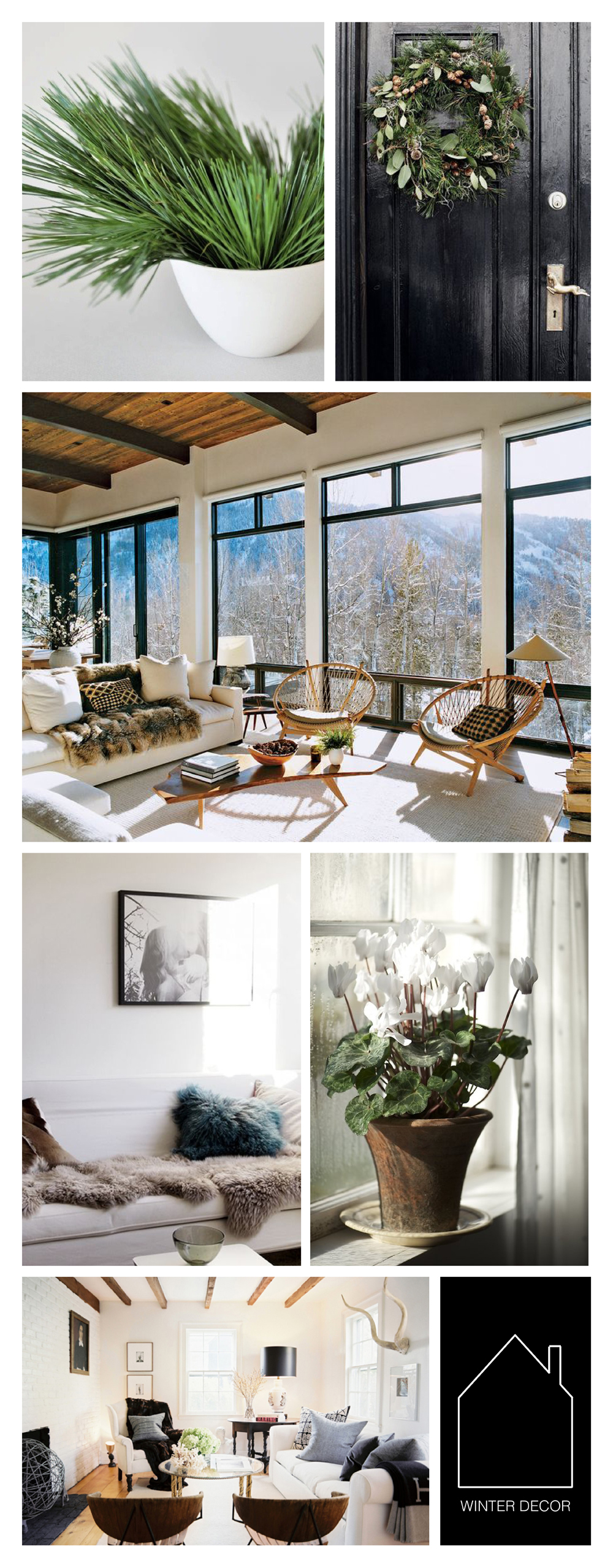 from top left - spruce pot via  Accessorize Your Home  - wreath via  BO BEDRE  - Aspen home of Aerin Lauder via  VOGUE  - sheep skin sofa via  veronica loves archie  - house plant via  The Unexpected Houseplant  - interior via  love maegan