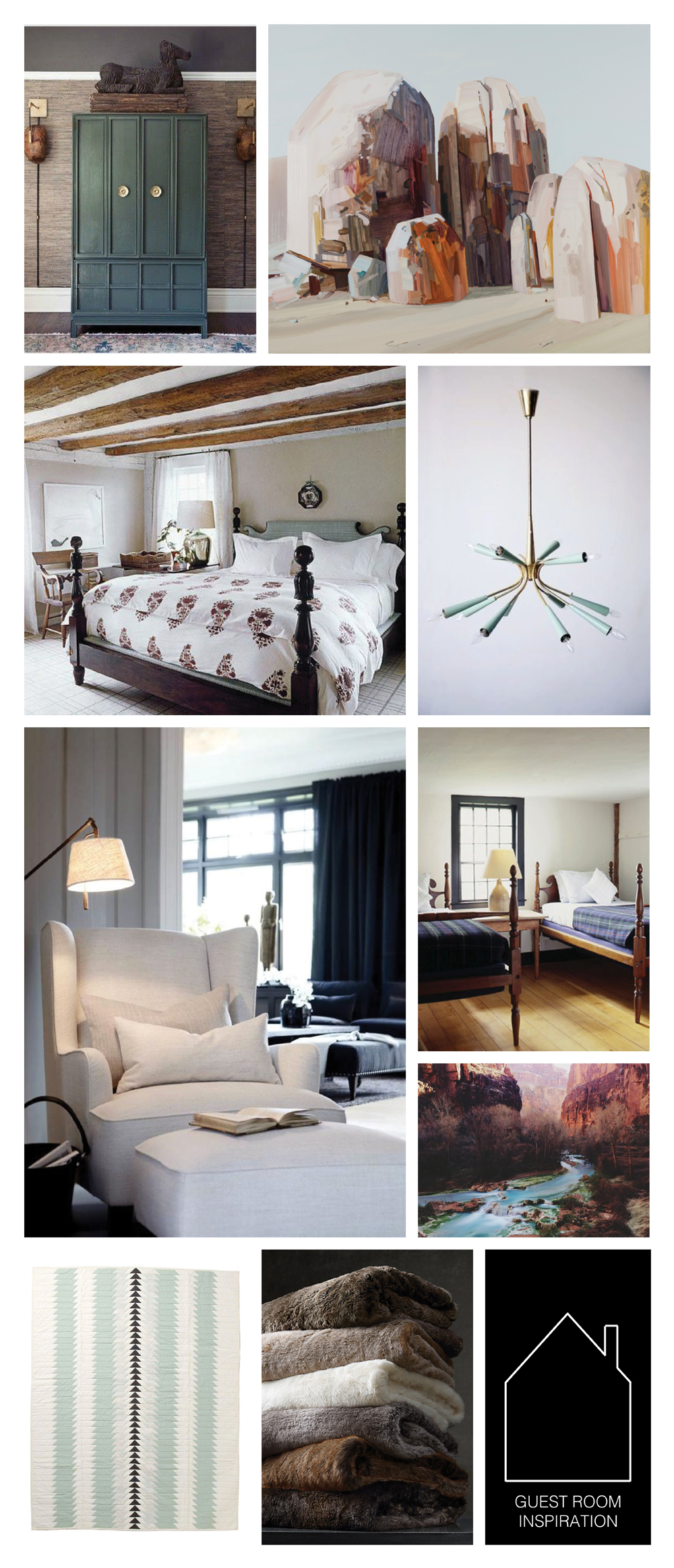 "from top left  - armoire source unknown - Boulder, 2012, 78"" x 90"",  Claire Sherman  - bedroom by  Tom Scheerer  - chandelier source unknown - reading chair source unknown - twin beds source unknown -  Havasu Canyon Creek  by  Kevin Russ  via  Society 6  -  Harrow Quilt  by  Meg Callahan  -  luxe faux fur throws  by  Restoration Hardware"