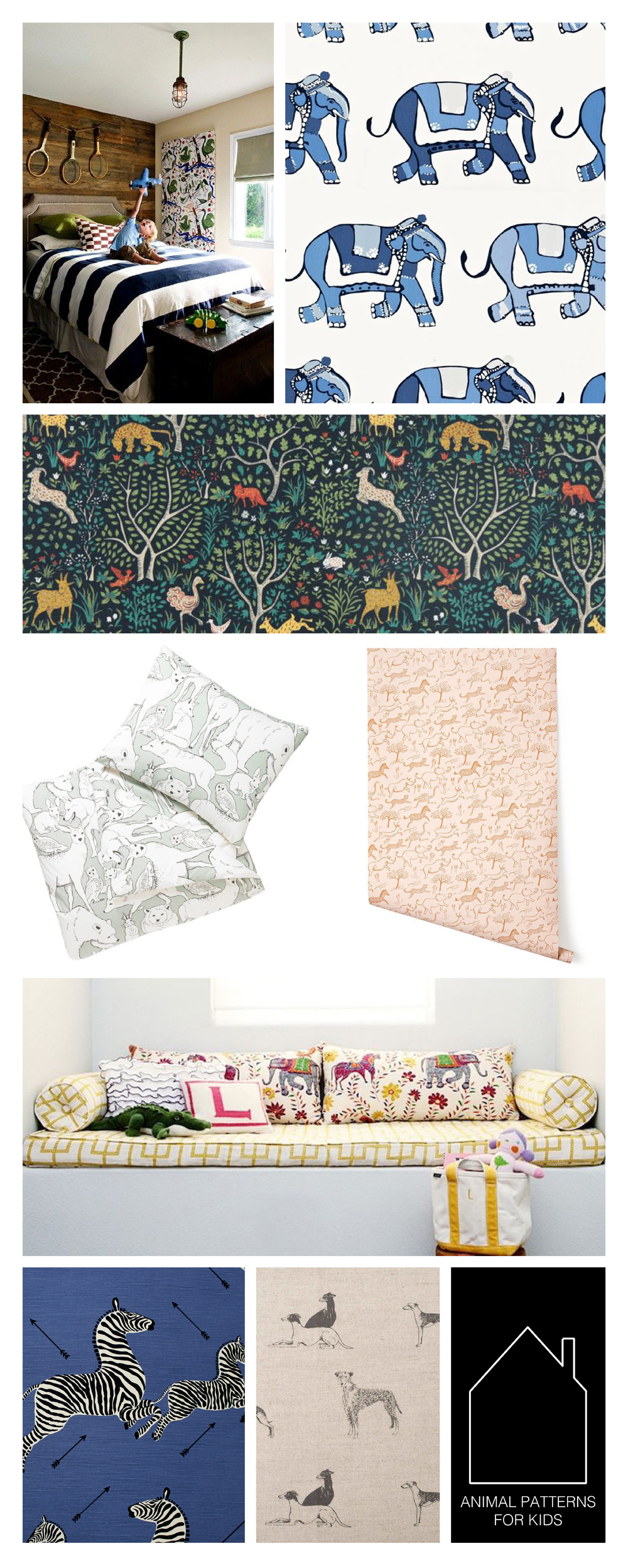 from top left - fabric by Josef Frank, room design source unknown -  Parade by  Schumacher  -  Folkland  by  Dwell Studio  for  Robert Allen -  Celadon Wildwood  by  Dwell Studio  -  Safari (blush)  by  Hygge & West  - home of  Erika Brechtel  mahout pattern  by  John Robshaw for Duralee -  Zebras  by  Scalamandre  -  Long Dog  by  Emily Bond