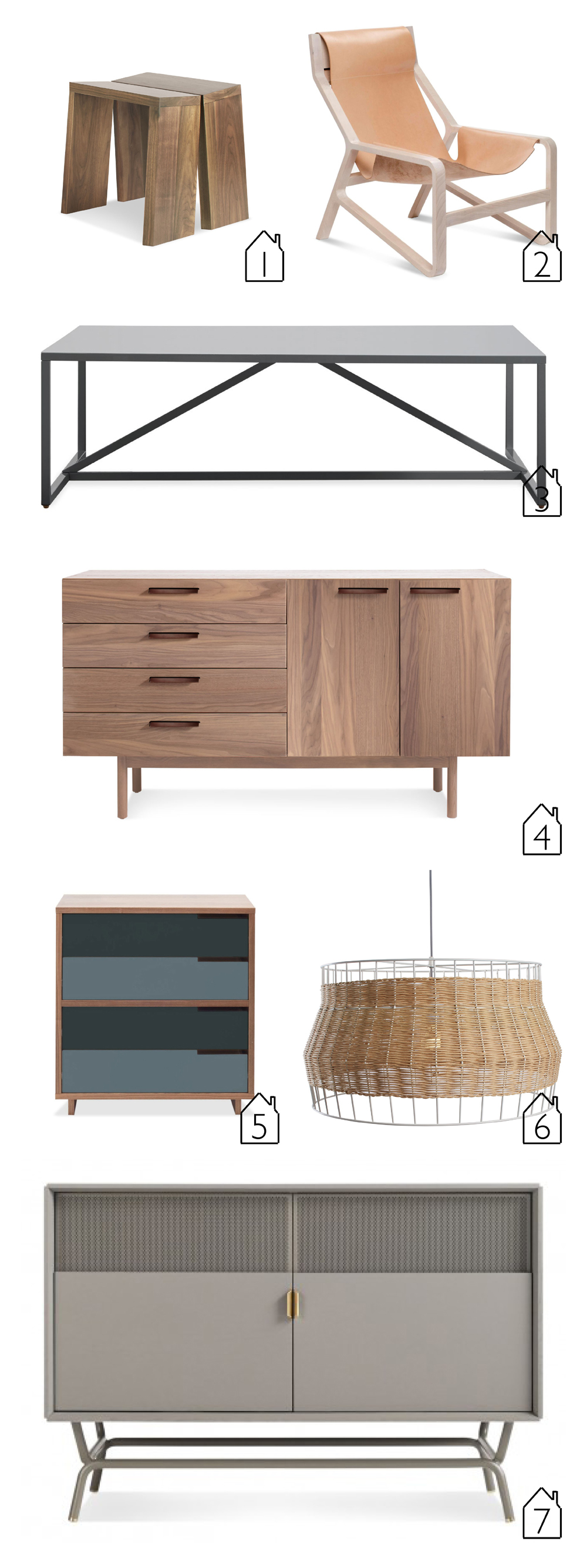 "1.  Amicable Split 19"" Bench   2.  Toro Lounge Chair   3.  Strut Square Coffee Table   4.   Shale 4 Drawer/2 Door Credenza   5.  Modu-licious #4   6.  Laika Large Pendant   7.  Dang Media Stand"