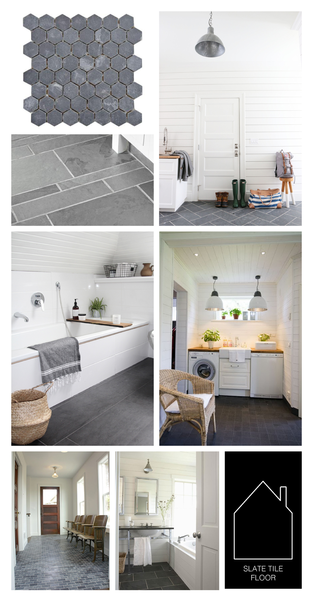 from top left - slate mosaic via  Home Depot  - herringbone pattern via  STUDIO MCGEE  -  striped pattern via  This Old House  - bathroom via  Design Dot  - laundry room source unknown - small brick pattern via  Chic Design Investments  -  bathroom via  Centsational Girl