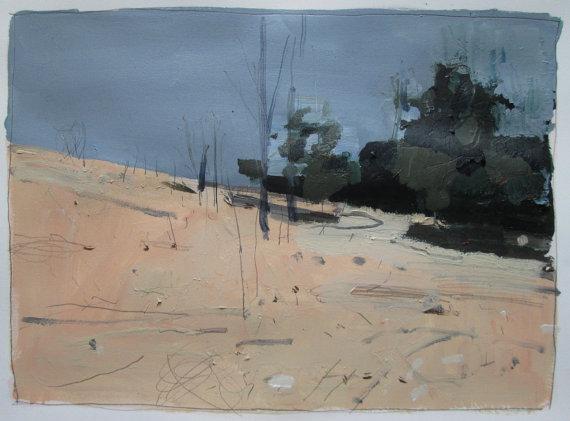 Back Line  - original landscape painting on paper - Harry Stooshinoff
