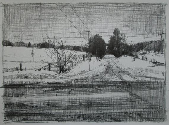 Refuge  - original landscape drawing on paper - Harry Stooshinoff