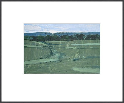 Evening Green  - original landscape collage painting on paper - harry stooshinoff