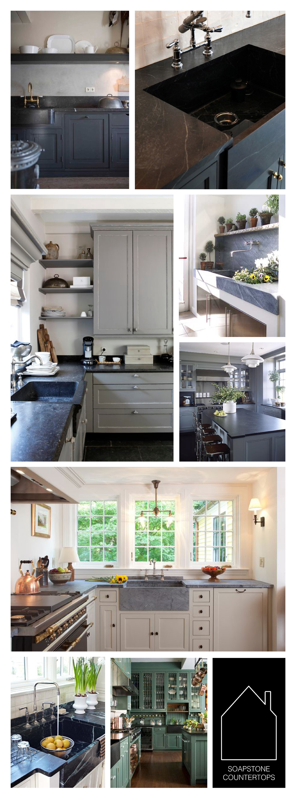 from top left - via  Apartment Therapy  - design by  MADE LLC.  via  REMODELISTA  - gray kitchen source unknown - BHG showcase house potting sink via  BHG  - dark gray kitchen via  Essence Design Studio  - design by  Frank Shirley Architects  - via  BHG  - source unknown