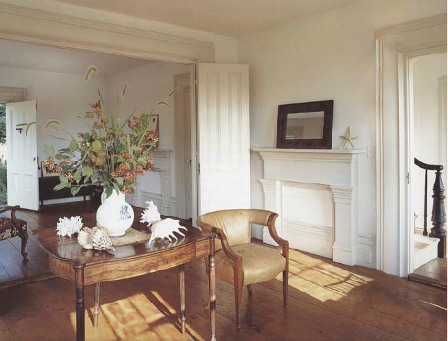 Greek Revival farmhouse preserved and restored by  V. Romanoff and Associates