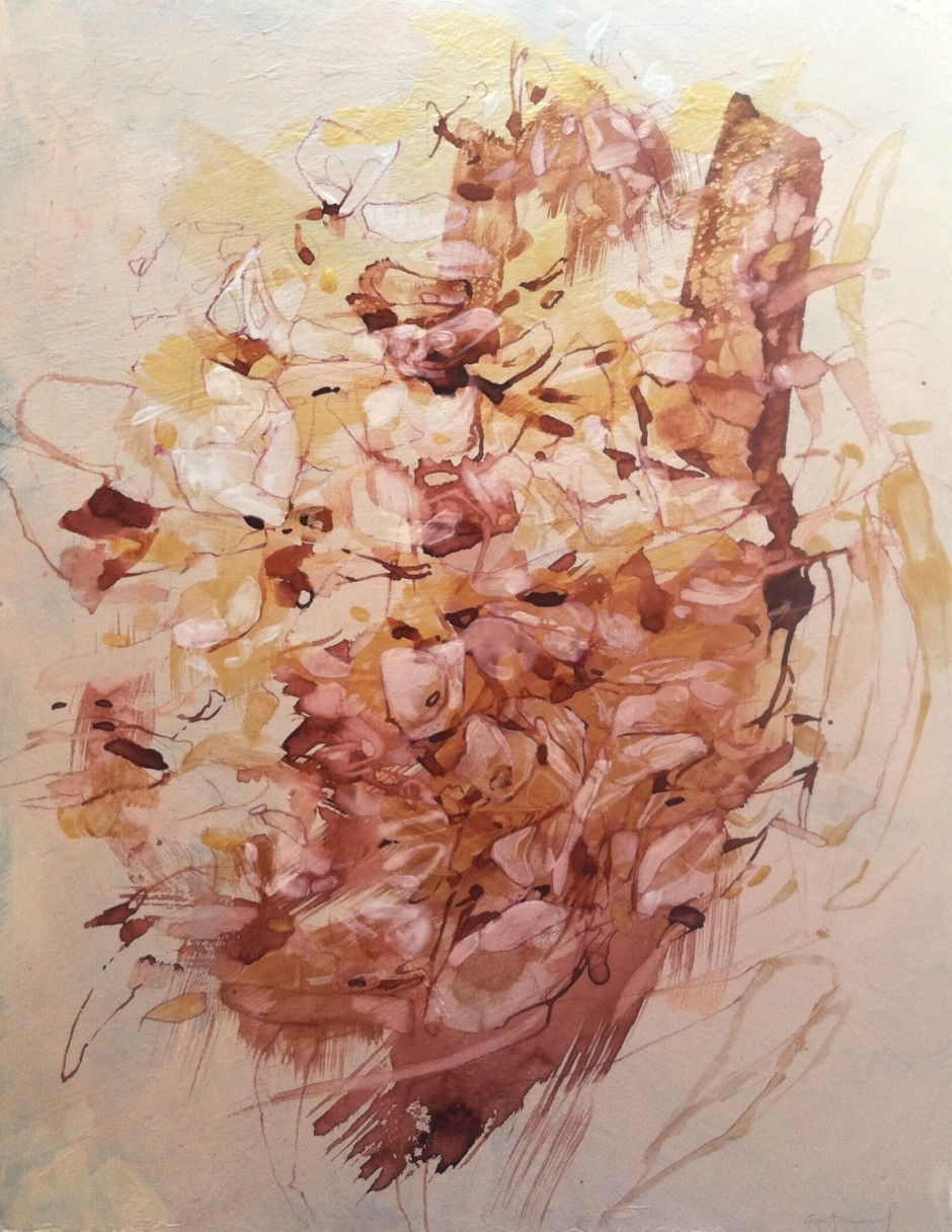 "Emily Leonard -  Hydrangea  - 10"" x 13"" - gold paint and ink on panel"