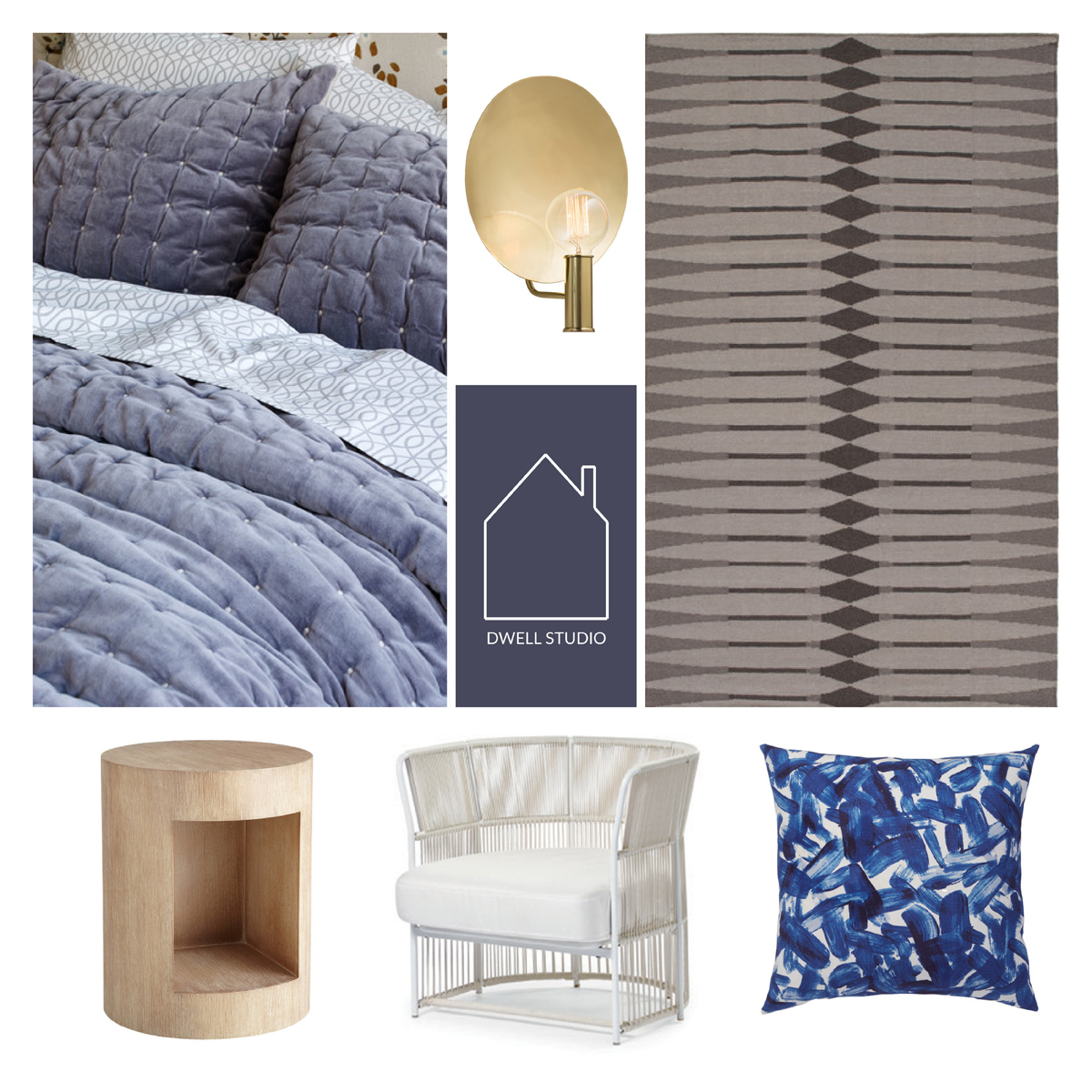 from top left -  mercer smoke quilt  -  conall sconce  - anders smoke flatweave area rug  -  suno side table  -  trinidad arm chair  -  brushstroke indigo pillow