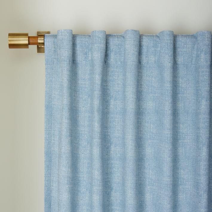 Cotton Canvas Chambray Print Curtain  via West Elm
