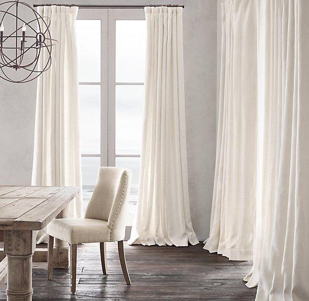 Belgian Heavyweight Textured Linen Curtains  via Restoration Hardware