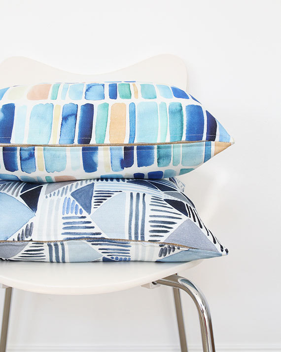 Vertical Stripes in Blue Pillow  with  Sea Blue Triangle Medley Pillow