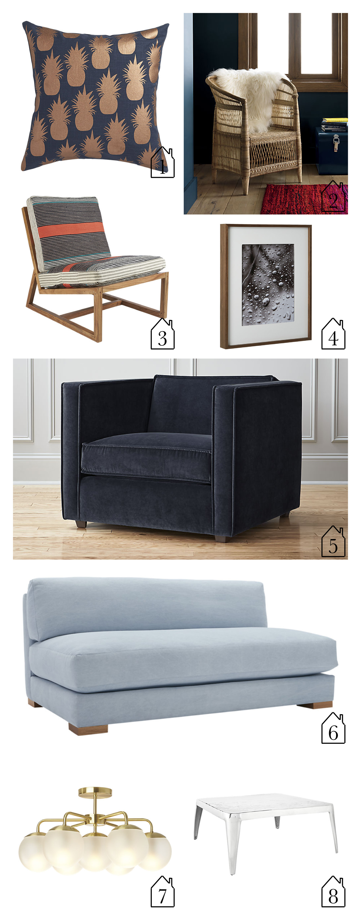 "1.  escape copper pineapples 18"" pillow   2.  woven malawi chair   3.  sidi lounge chair with cushion  4.  walnut picture frames   5.  club chair   6.  piazza apartment sofa   7.  vega flush mount lamp   8.  sterling coffee table"